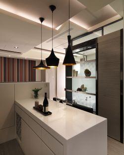 現代簡約家庭室內吧臺設計效果圖