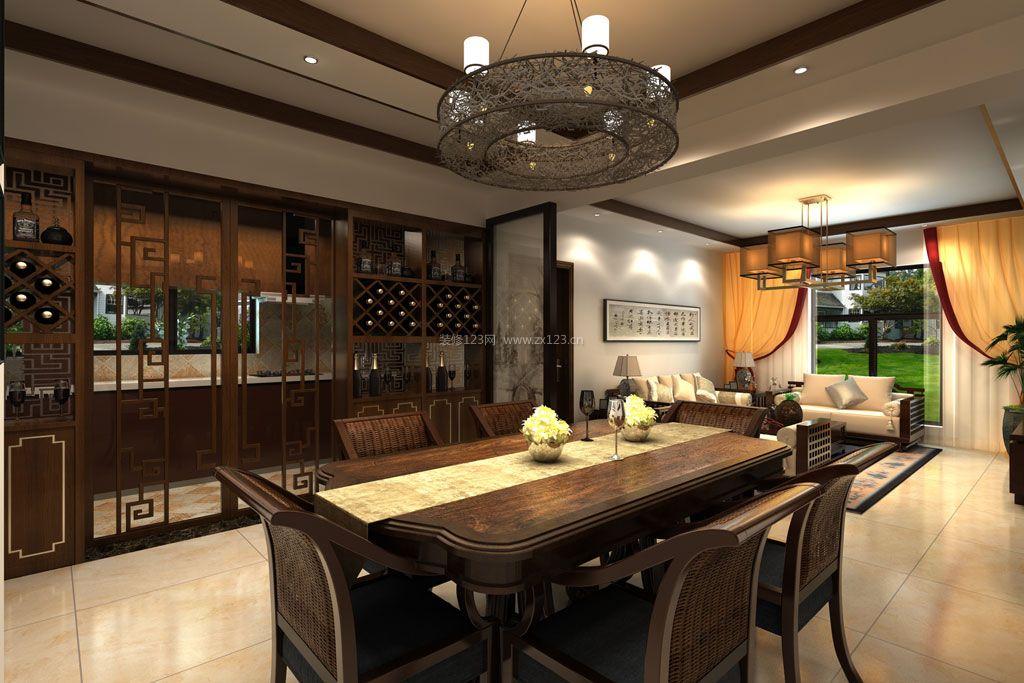 家装效果图 中式 新中式室内厨房酒柜隔断柜装修效果图大全 提供者