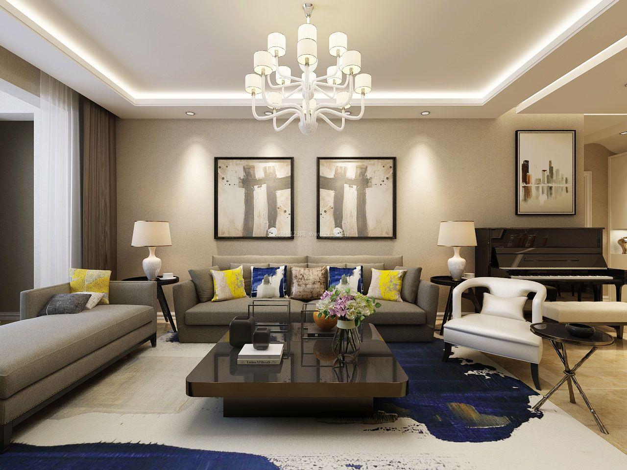 室内设计现代简约风格客厅地毯装修图片_装修123效果图