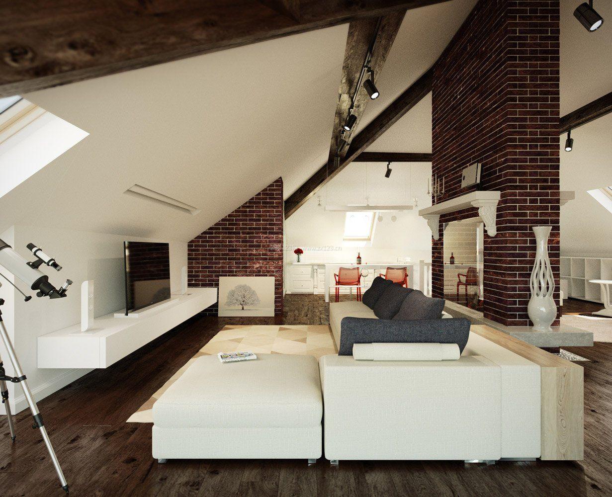 复式楼阁楼装修客厅家具摆放图片_装修123效果图
