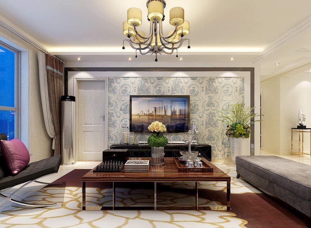 70平米小户型客厅电视墙设计图片2017