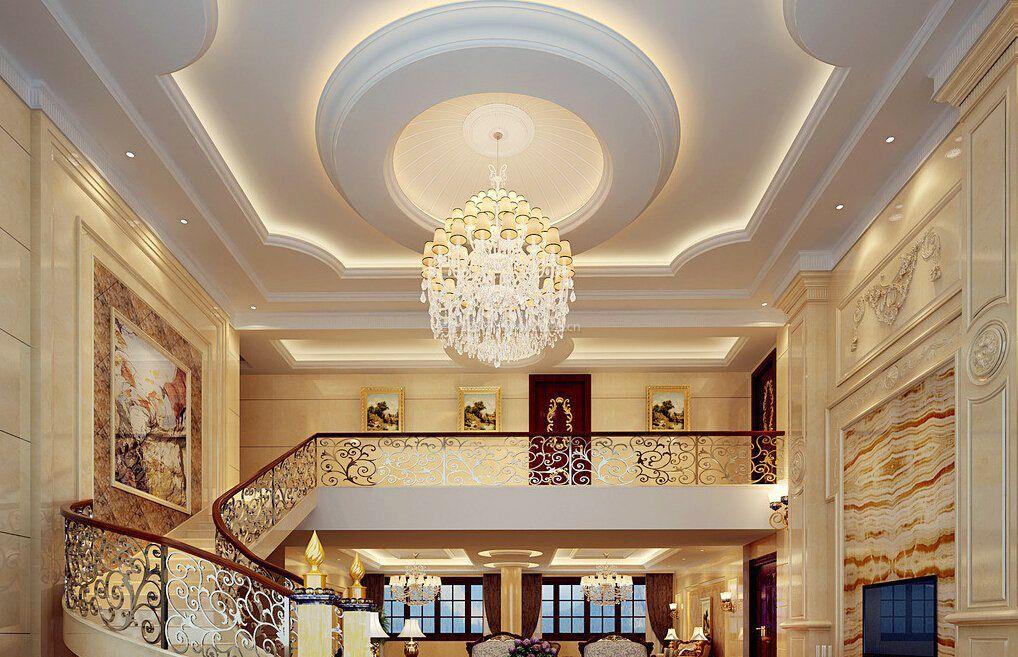 天花吊顶板装饰效果图别墅欧式