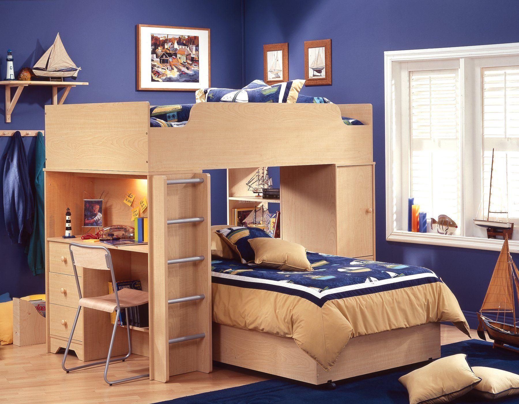 儿童房小面积卧室高低床装修效果图