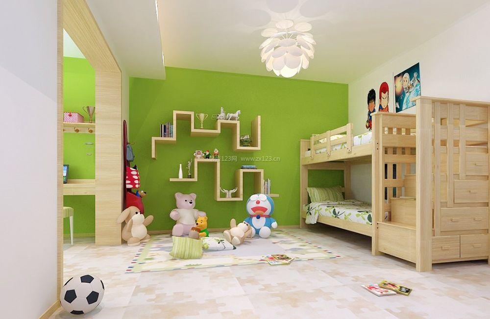 最新儿童房间实木高低床装修效果图片