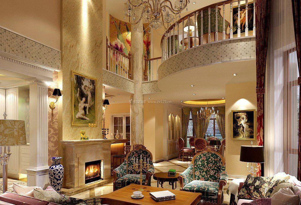 乡村二层别墅壁炉设计效果图欧式