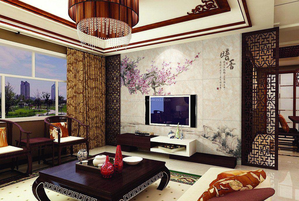 新中式客厅电视墙隔断效果图