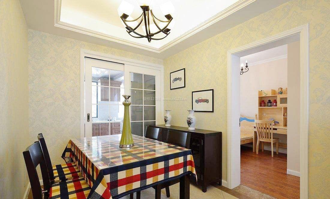 美式风格家装设计厨房和饭厅隔断效果图图片