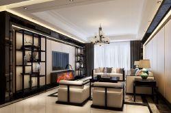 新中式客廳電視墻博古架造型圖片