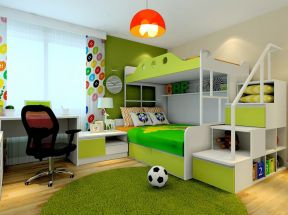 现代简约风格儿童房装修效果图 高低床装修效果图片