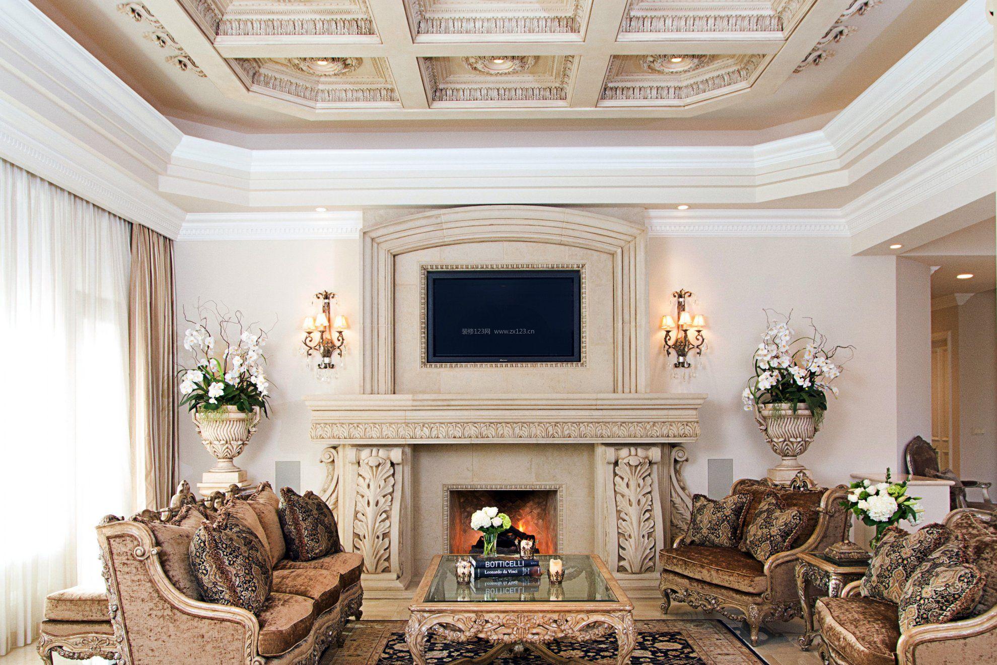 简欧别墅设计客厅吊顶造型效果图片