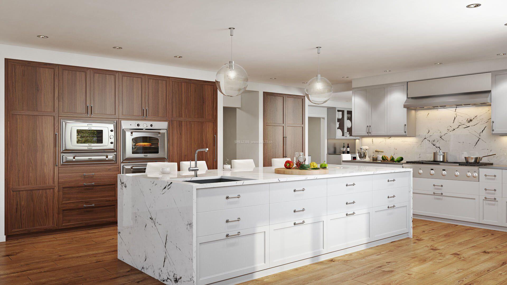 家居厨房橱柜中岛装修效果图片