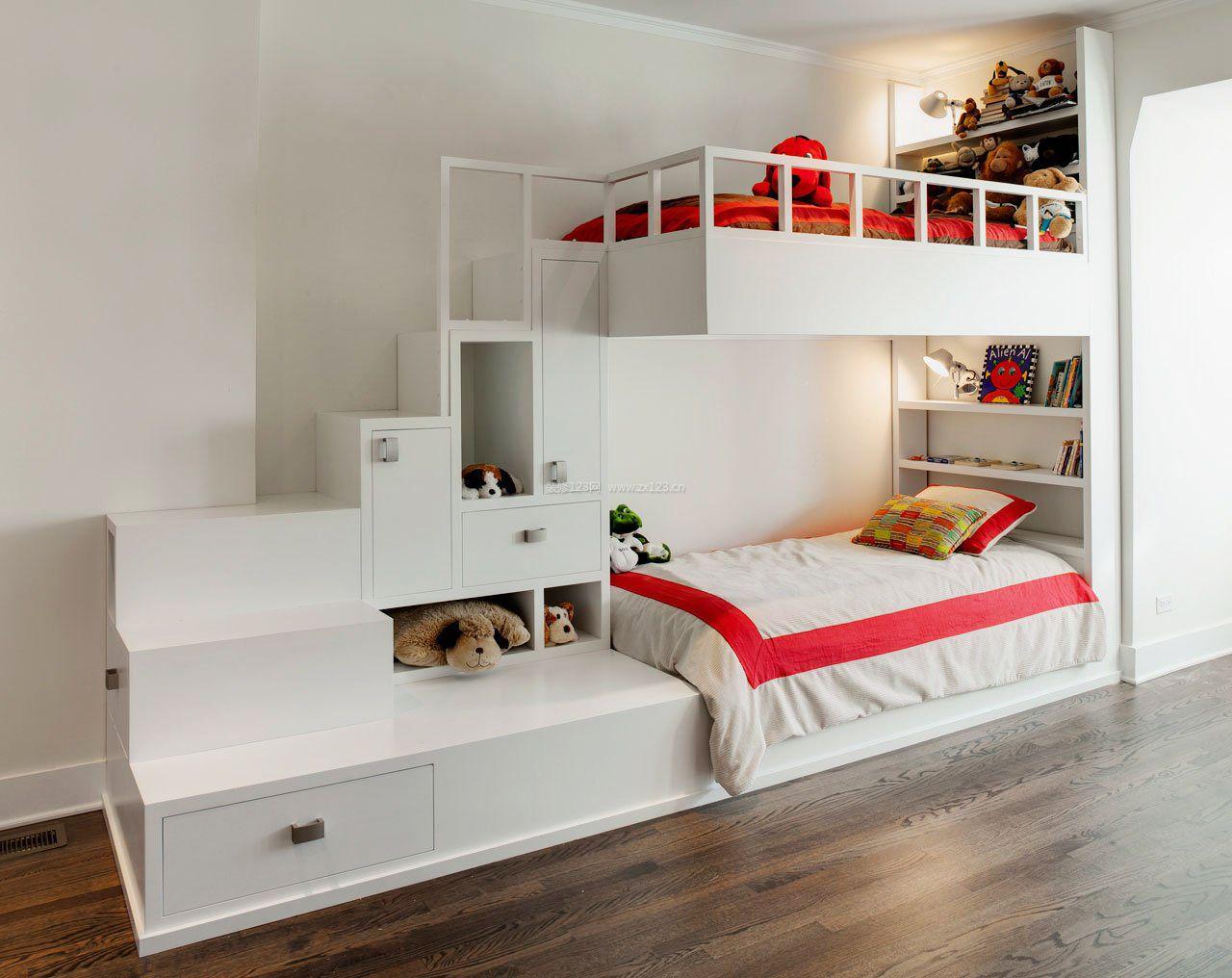 简约风格儿童房卧室装修高低床
