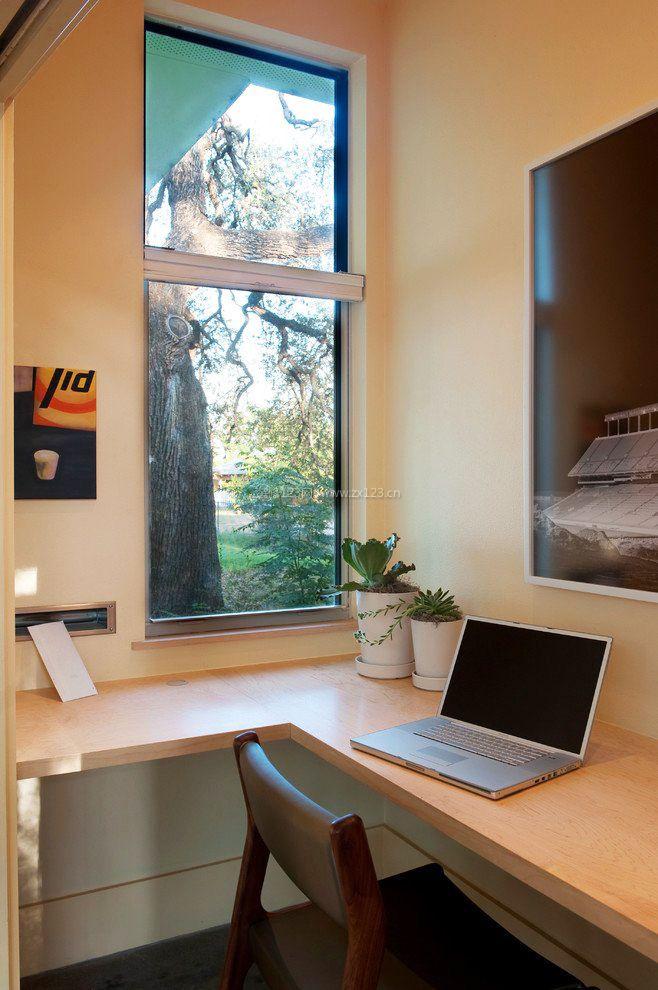 5平米小书房转角飘窗改书桌效果图片