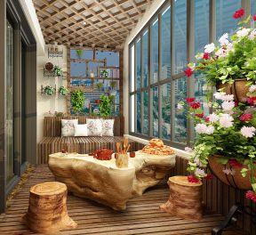 中式客厅阳台休闲区装饰装修效果图片图片