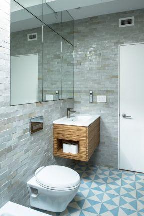 100平米三居室 衛生間地磚圖片