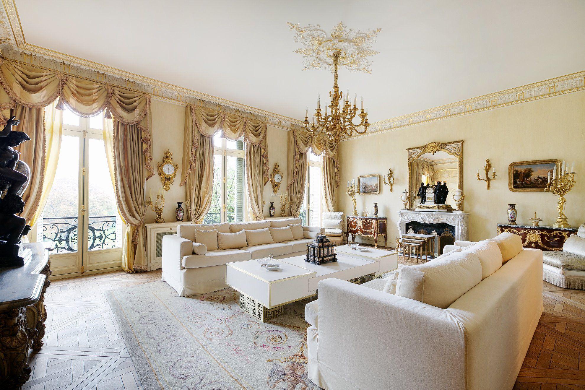 简约欧式家装风格大户型客厅装修效果图片