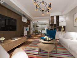 现代北欧风格客厅布艺沙发装修设计效果图片2018图片