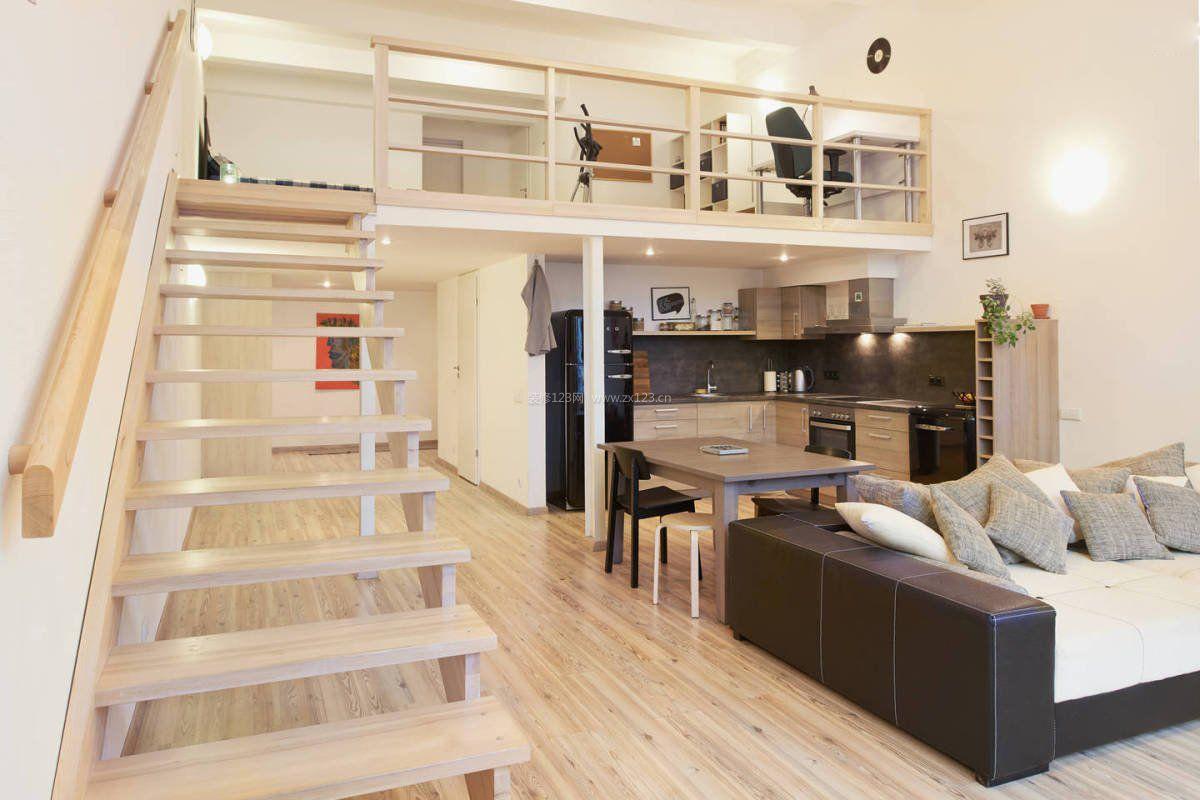 复式楼单身公寓室内扶手样板_装修123效果图图片