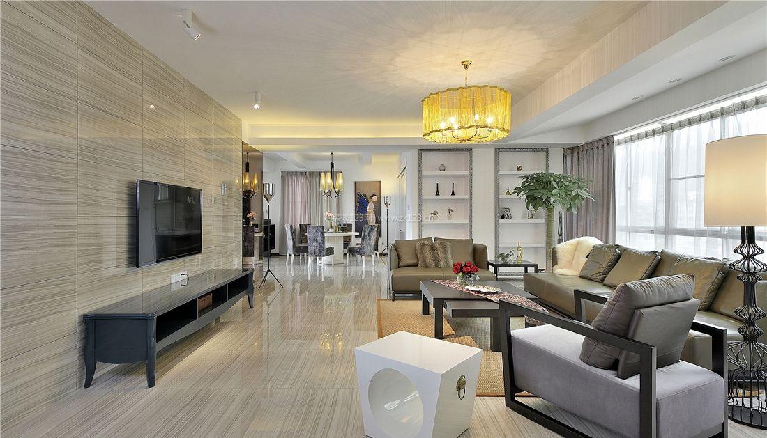 昆明时光现代简约风格装修案例效 5款现代简约客厅电视墙装修效果图