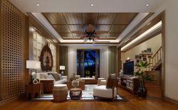 東南亞別墅客廳沙發背景墻裝修效果圖片