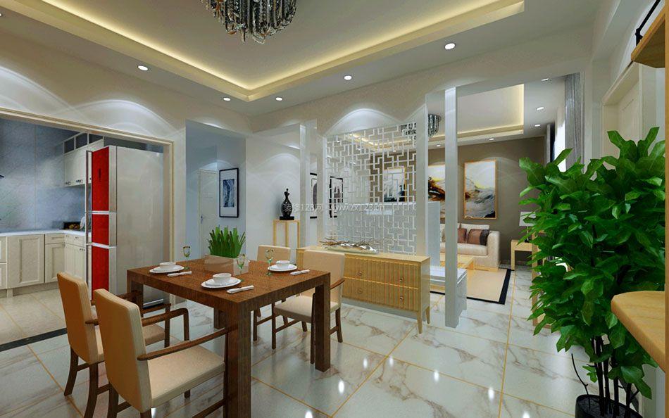 现代家庭餐厅实木餐桌装修效果图片