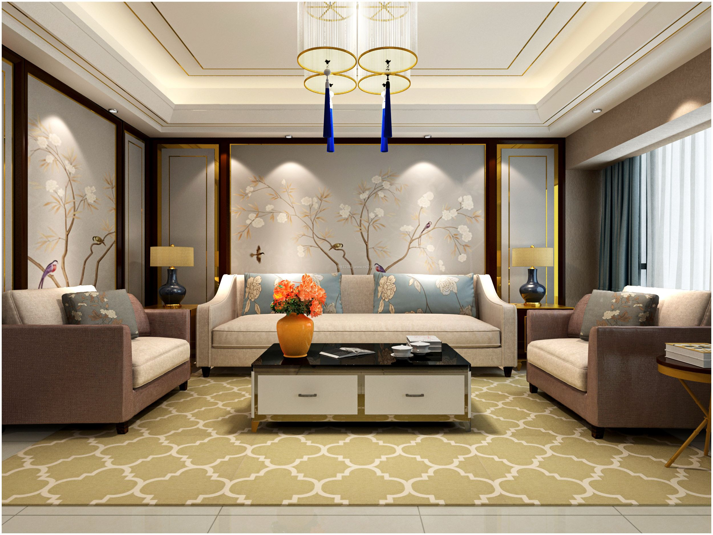 家装效果图 中式 新中式客厅沙发背景墙装修效果图大全 提供者:   ←图片