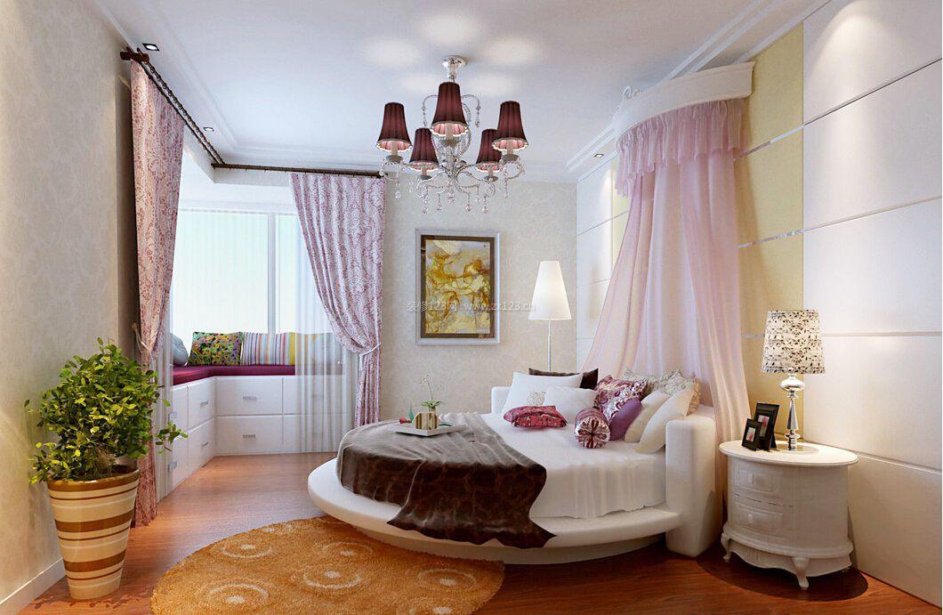 欧式卧室圆床床头背景图片