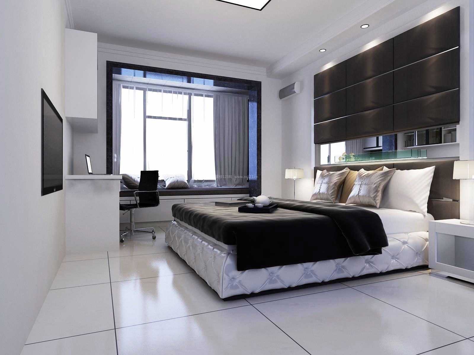 现代简约卧室白色地砖装修效果图片图片