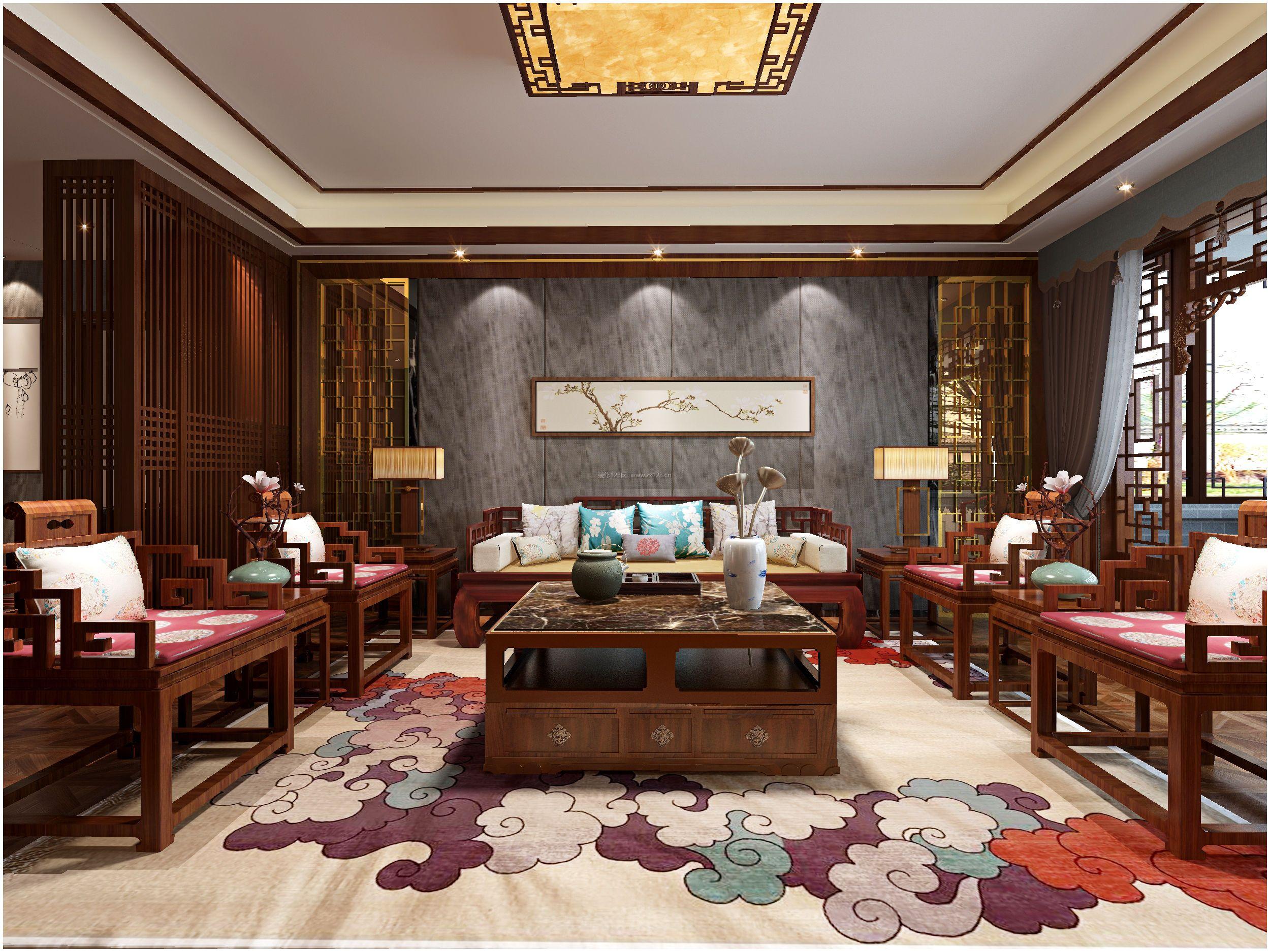 新中式客厅实木沙发装修效果图片大全