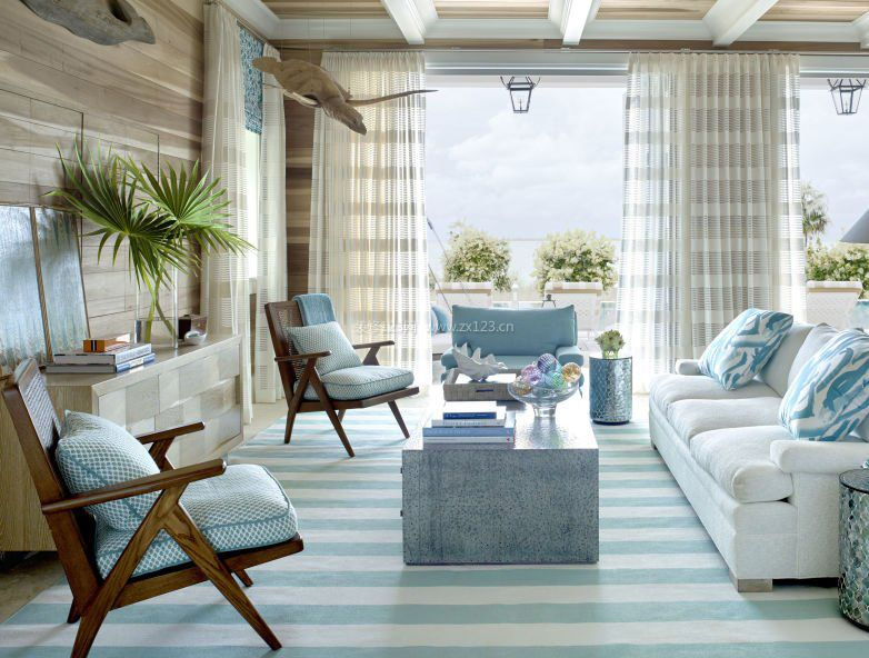 客厅与阳台无门装修效果图_装修123效果图