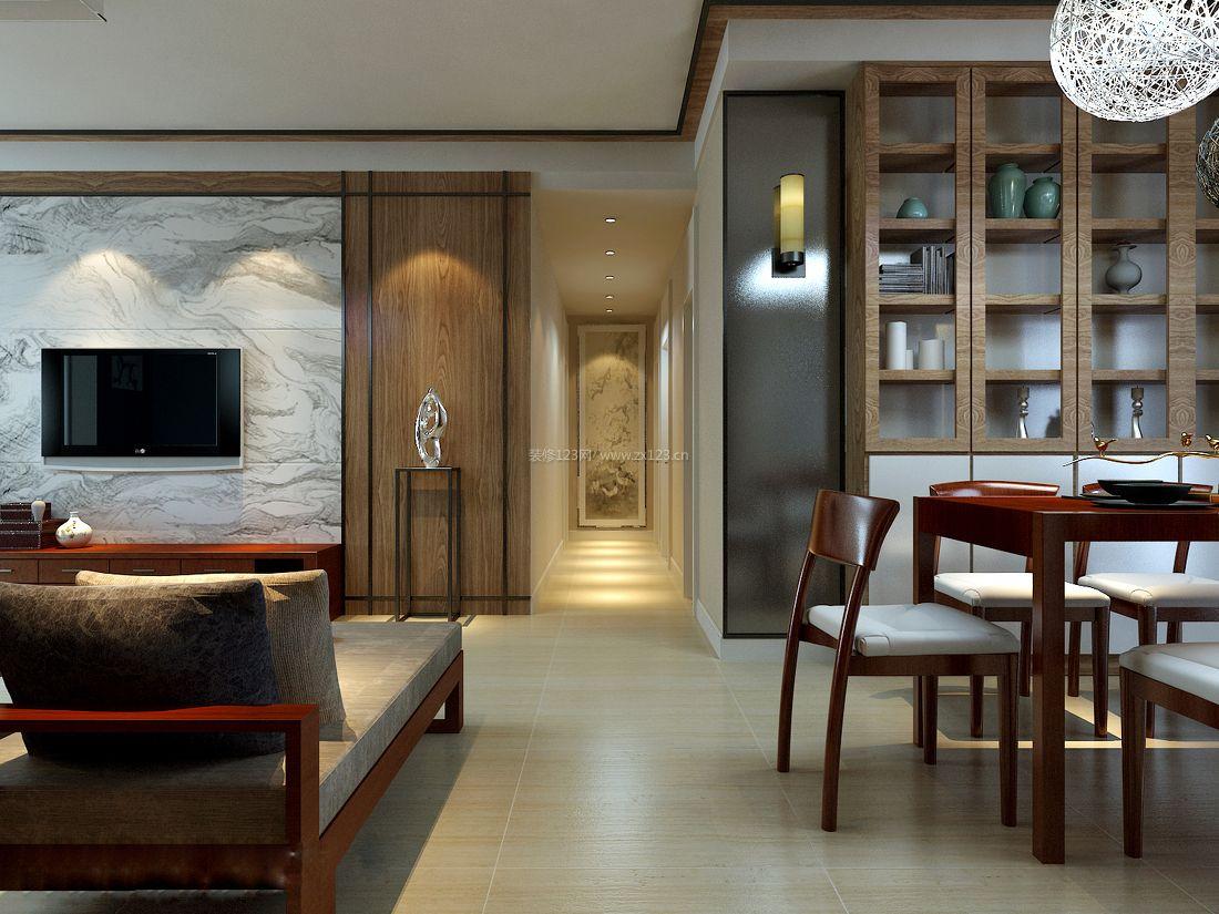 简中式装修风格瓷砖电视背景墙装修效果图片