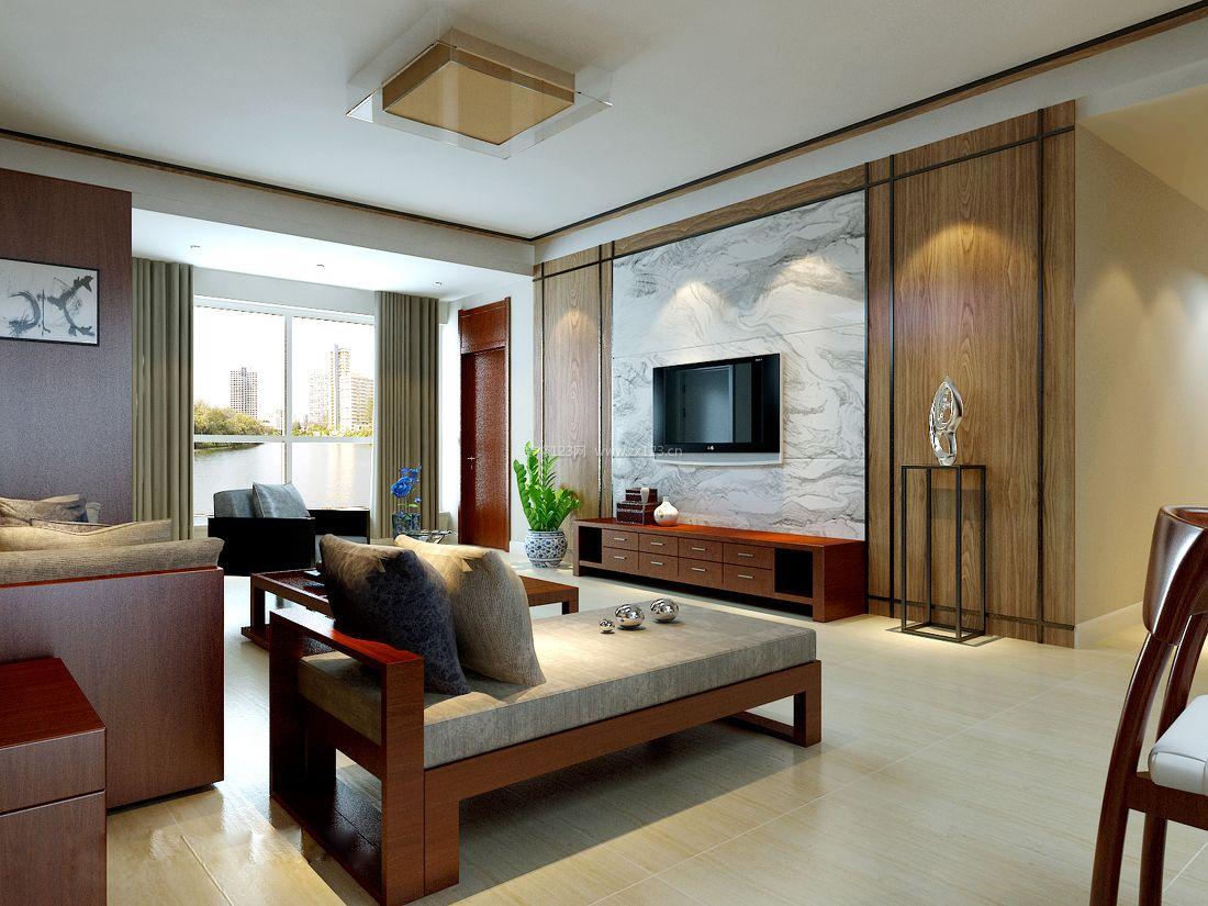简约中式风格客厅吸顶灯装修效果图片图片