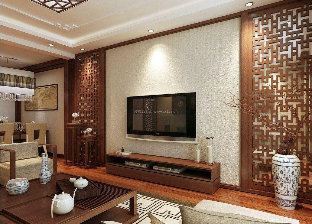 中式电视墙两边造型实木隔断效果图