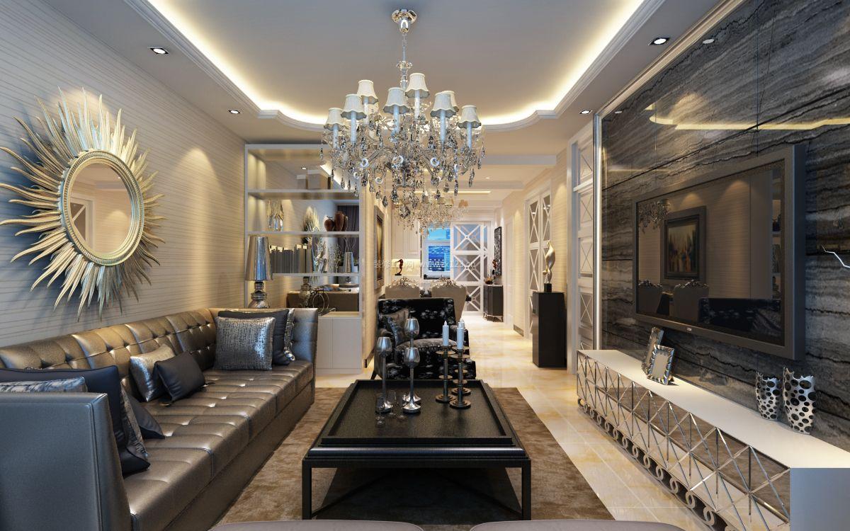 简约欧式客厅瓷砖电视墙装修效果图