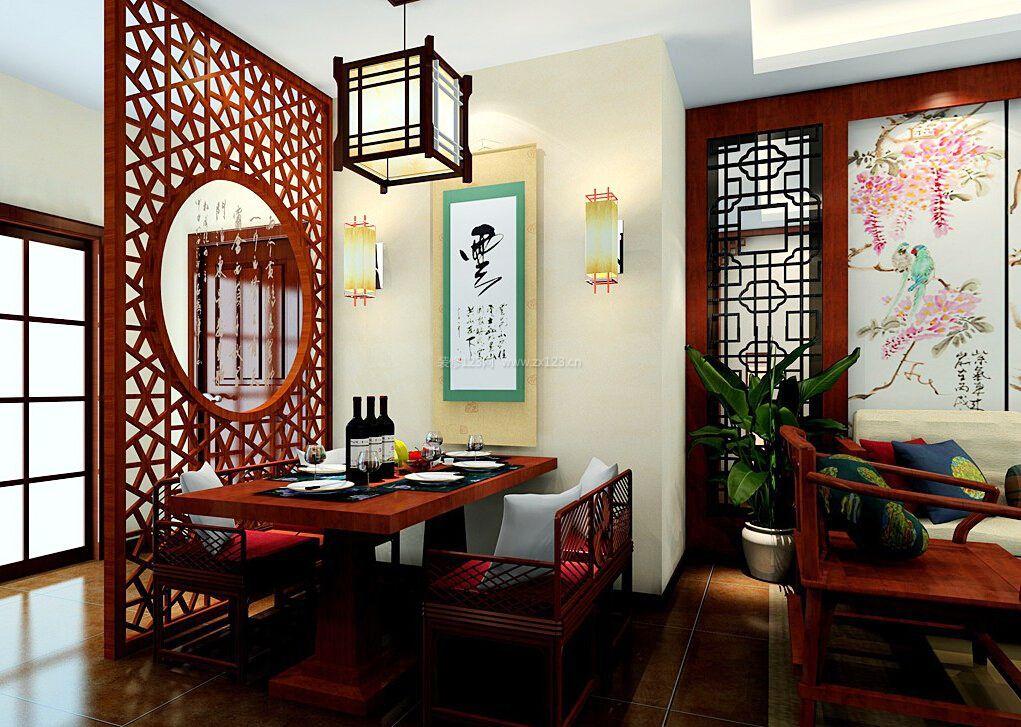 中式餐厅阳台实木隔断效果图