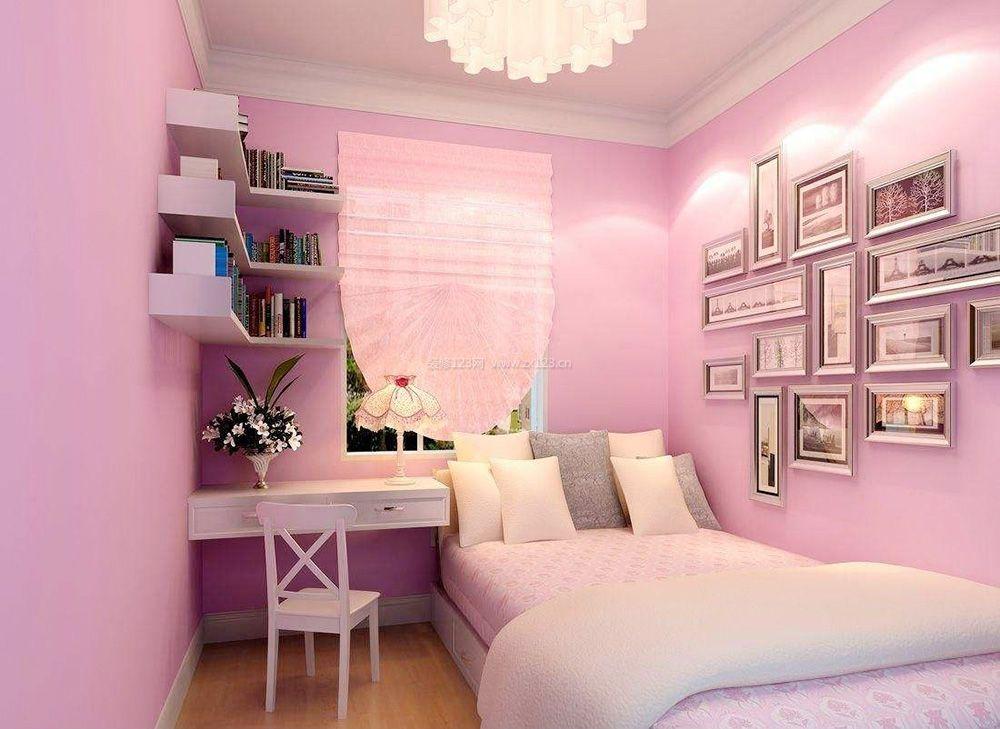 7平米卧室粉色墙面装修效果图片