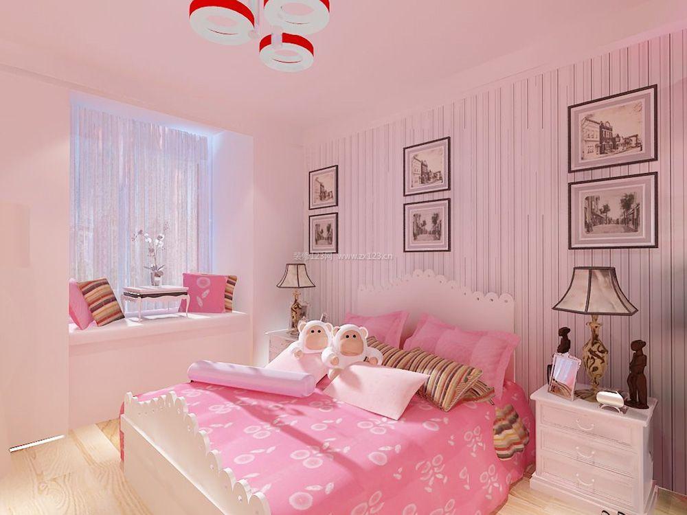 女孩子卧室床头装饰画装修效果图