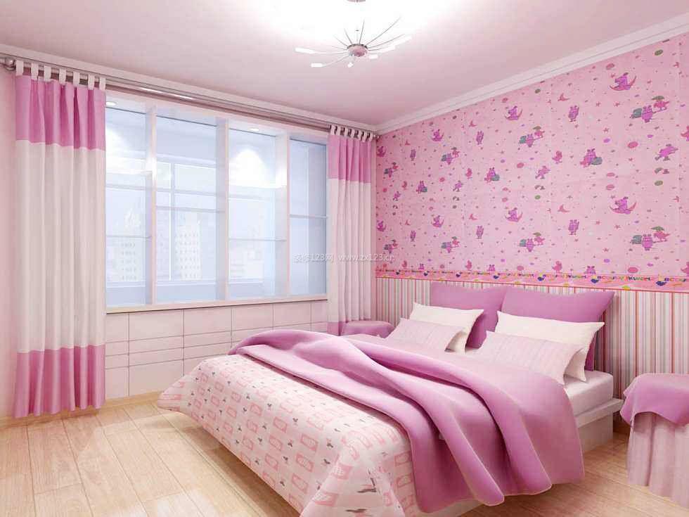15平米卧室粉色窗帘装修效果图片_装修123效果图