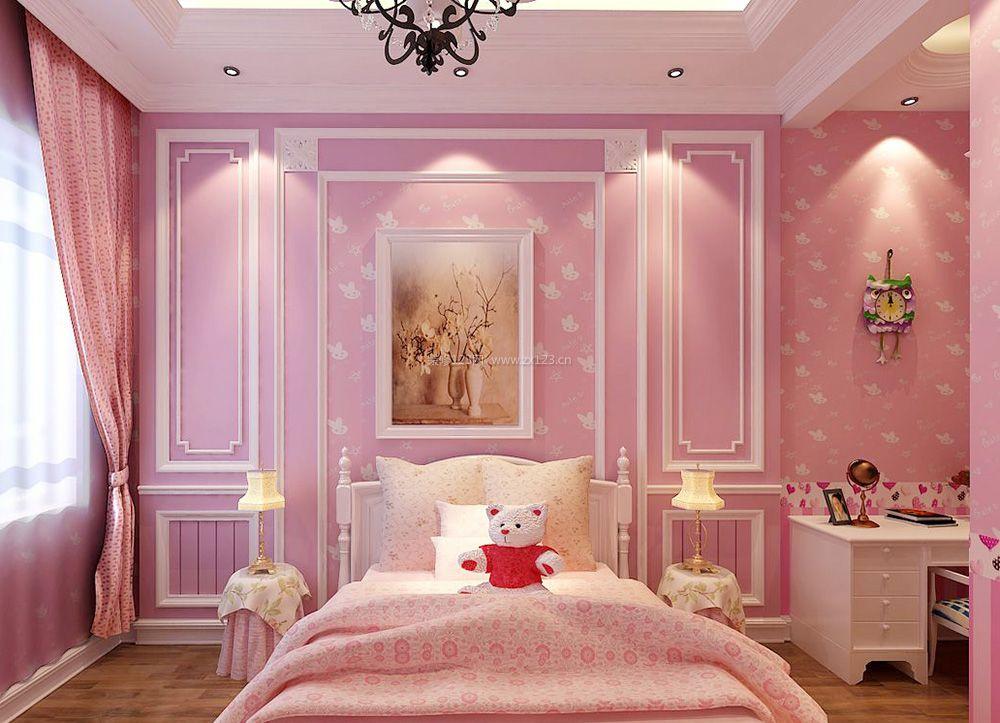 简欧女孩卧室床头背景墙装修效果图片