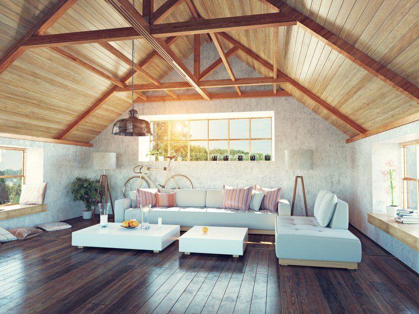 顶楼带阁楼生态木吊顶装修效果图