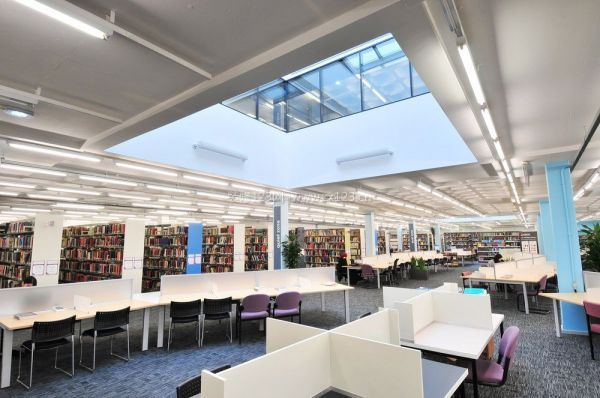 现代大型图书馆装修实景图-合肥图书馆装修设计 图书馆装修要点