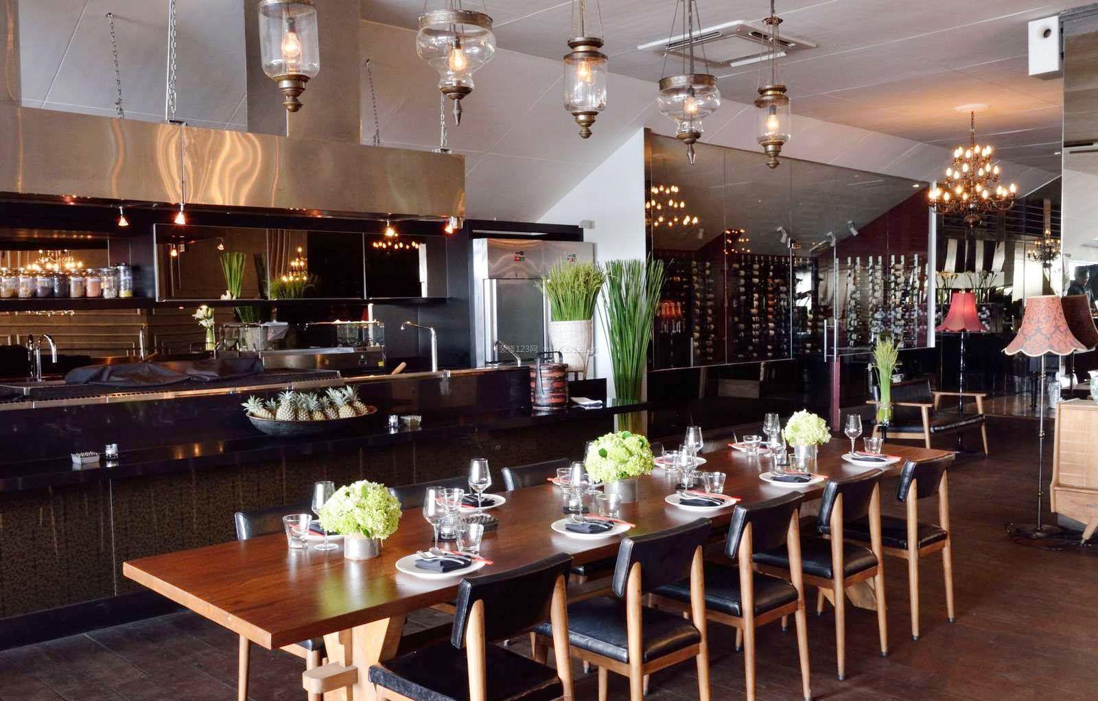 东南亚饭店餐厅吧台装修效果图