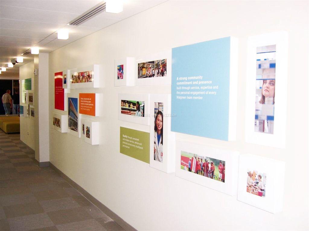 现代办公室走廊过道文化背景墙效果图_装修123效果图