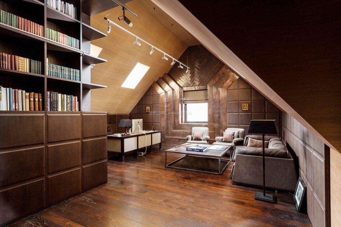 顶楼阁楼欧式书房设计图