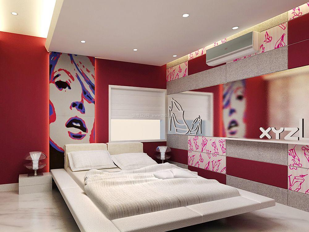 现代卧室背景墙设计装修效果图大全2017图片