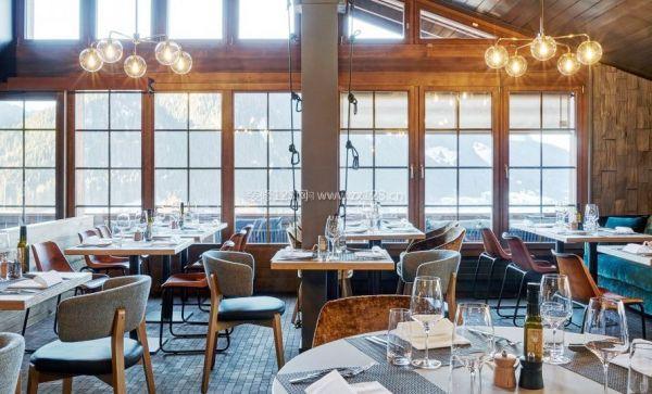 时尚饭店餐厅背景墙装修设计效果图