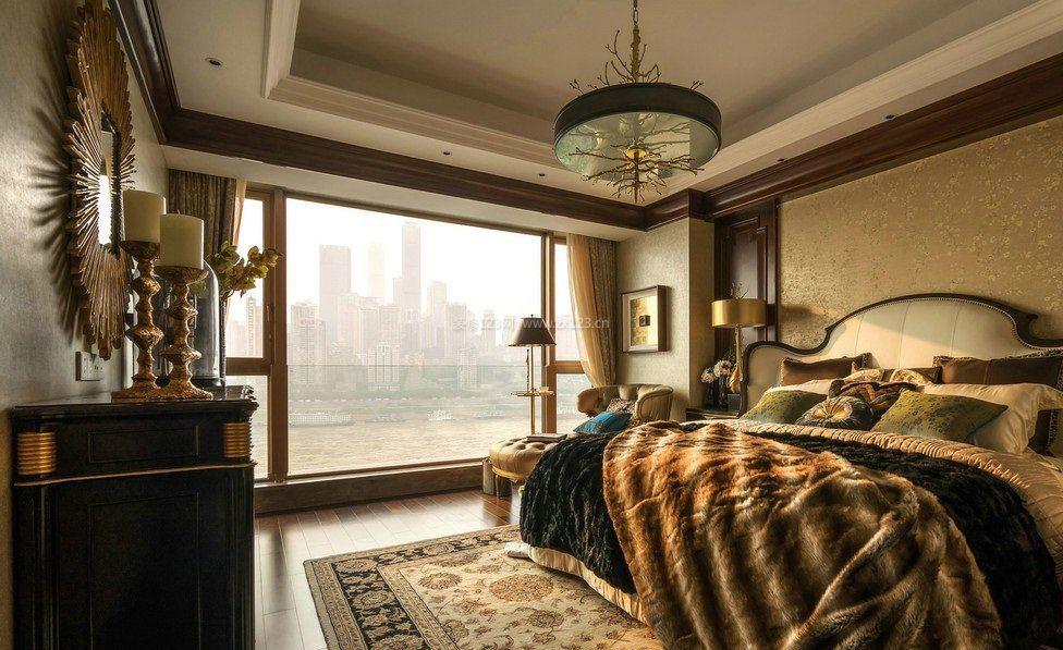 欧式复古风格卧室落地窗装修效果图片