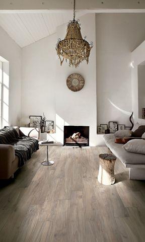 室内现代风格设计 浅灰色木地板装修效果图片