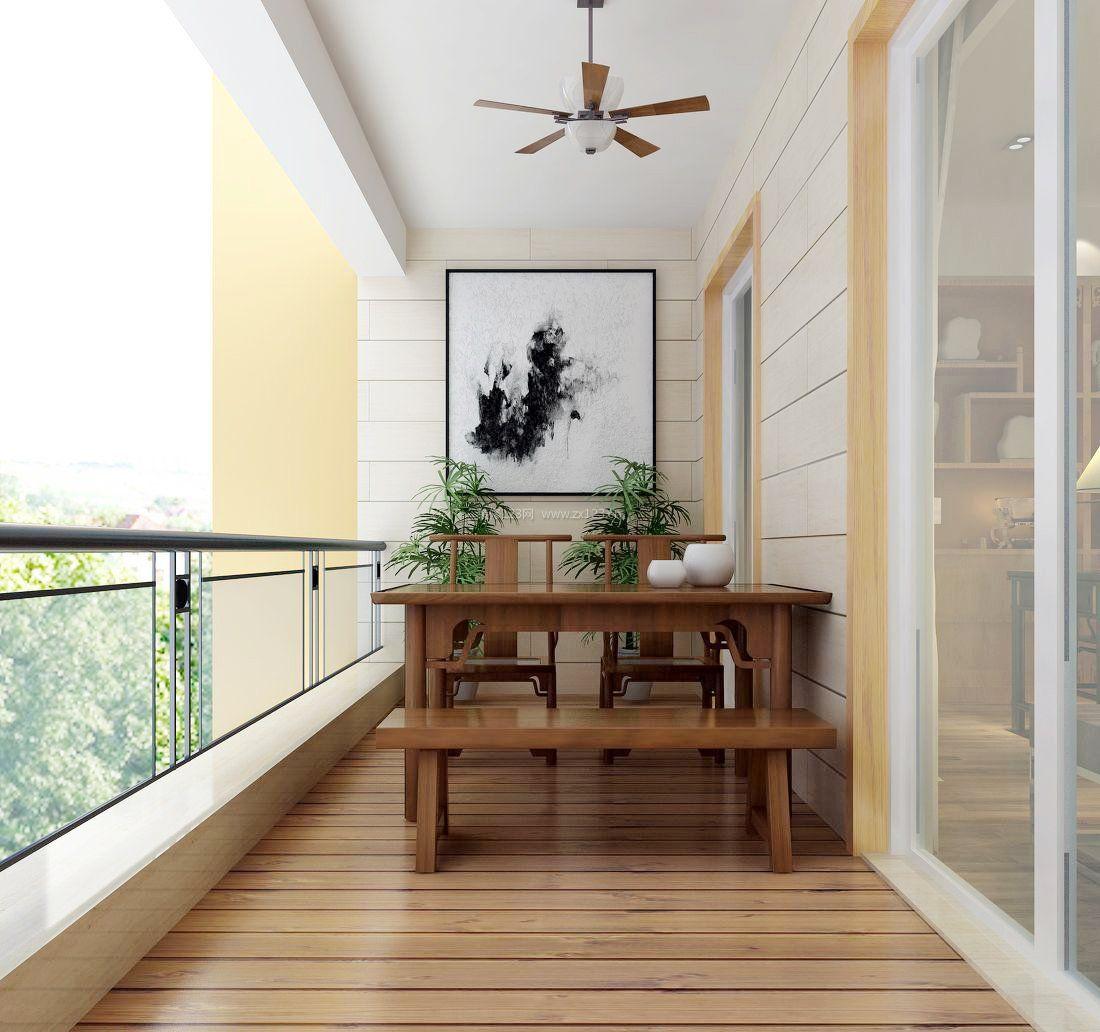 新中式风格阳台茶室装修效果图图片