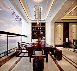 陽臺茶室室內裝飾效果圖新中式